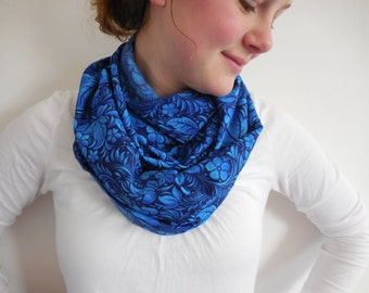 Blue Floral Infinity Scarf Lightweight circular Scarf Summer Fashion trends Feminine  Gift Idea  Blue Floral  Polyester Scarf
