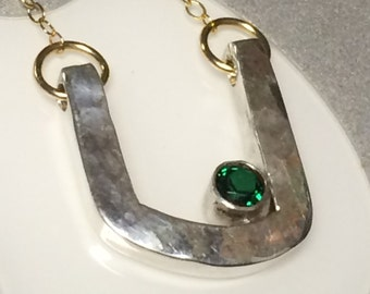 Organic Modern Birthstone Mixed Metal Necklace, Hand Forged, Sterling Silver, Emerald May