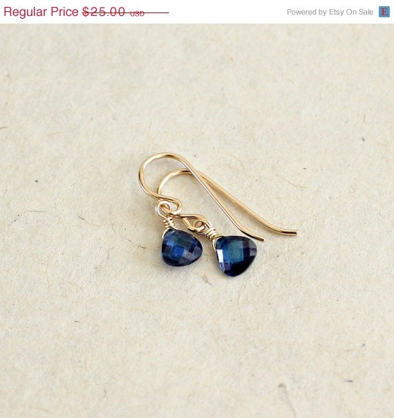 Small Blue Earrings: SALE Sapphire Teardrop Earrings Small Blue Dangle Drop By