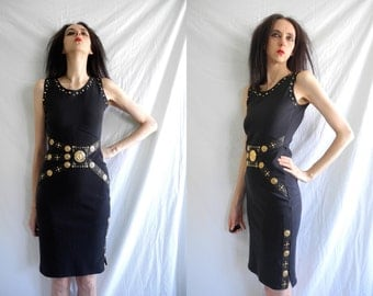 90's statement vintage black stretch dress with gold lions head metal disc, embellished studs and faux leather