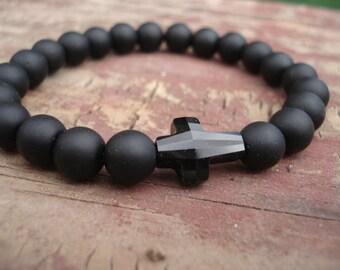 Cross Bracelet, Black Onyx Bracelet, Swarovski Crystal Bracelet, Catholic Jewelry, Christian Jewelry, Spiritual Bracelet, Religious Bracelet