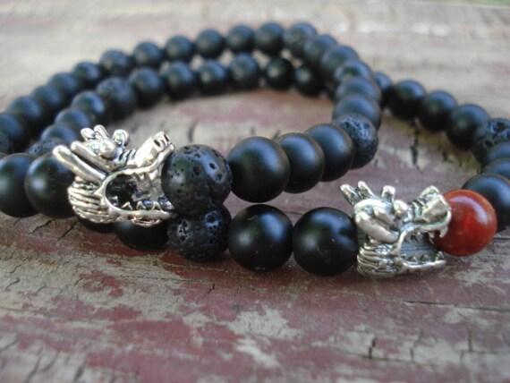 Dragon Bracelet, Onyx Bracelet, Lava Bracelet, Black Beaded Bracelet, Dragon Jewelry, Gemstone Bracelet, Charm Bracelet, Stretch Bracelet