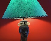 Gorgeous Rare FAIP Vintage 1950s African Woman's Head Plaster Lamp with Vibrant Green Speckled Fiberglass Shade MCM Mid Century Modern