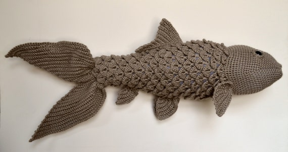 Large koi crochet pattern realistic fish stuffed animal for Koi teichbau anleitung