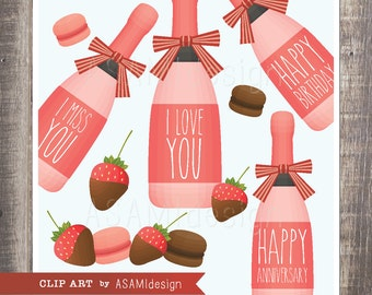 Pink Champagne Clipart With Love Messages - Chocolate Covered Strawberris Clip Art - PNG