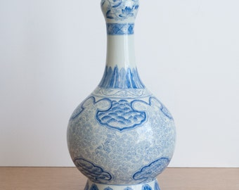 Large Maitland Smith blue and white genie vase