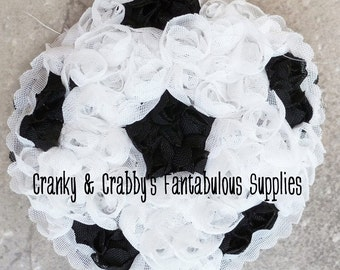 "Chiffon Rosette Soccer Applique - Use on T-shirts, headbands, much more! 3"" inches"