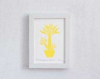 "Madagascar Palm Cactus // Linocut Print 5"" X 7"" Inches // Hand Pulled -- One Of A Kind Print, In Yellow"