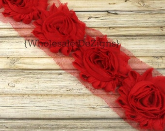 Red Shabby Chic Chiffon Flowers - One Yard Trim Wholesale Lot Frayed Vintage Rosettes
