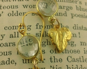 Grape Leaf I: Elegant Golden Leaf Earrings with Rock Crystal