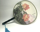 China Town Addict - Red Peony Round Chinese Fan