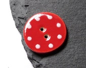 Ceramic Button Round Shaped Red With White Polka Dots