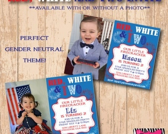 DIY Printable Red, White and Two Party Invite