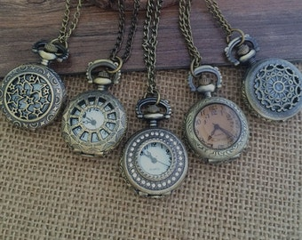 5pcs Small series Round Bronze  pocket watch charms pendant   25mmx25mm