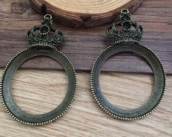 4pcs 39mm Bronze base Cameo Setting