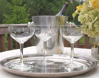 Vintage Champagne Saucers Coupe Glasses Crystal Tall Blown Glass Etched with Flowers  - Set of 3 - Wedding Gift Housewarming Gift