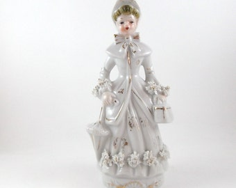 Vintage Porcelain Figurine Collectible Figurine Lady with Spaghetti Trims, Umbrela and Bag Home Decor Figurine Hand Painted Figurine
