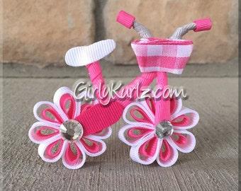 PINK Bicycle Hair Bow, Bicycle Hair Clip, Ribbon Sculpture Bike Bow, Bike Bow, Bike Clip, Summer Hair Clip