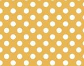 Riley Blake Designs/White Polka Dot on Mustard Fabric/Medium Polka Dots/Cotton Sewing Material/Fat Quarter, Half Yard, 1 Yard, By The Yard