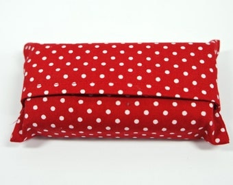 Travel Tissue Holder,  Polka Dot Fabric Tissue Case, Pocket Tissue Holder, Pocket Tissue Pouch