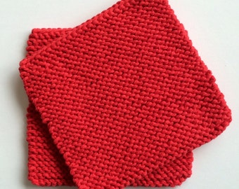 Hand Knit Cotton Pot Holders - Set of 2 - Red