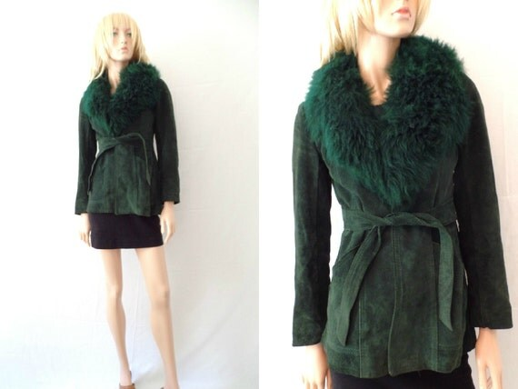 ON HOLD 70s LAMB Fur Coat Forest Green Suede Shearling Coat