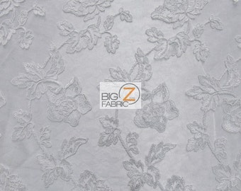 """Wavy Flower Sheer Lace Fabric - WHITE - 46"""" Width Sold By The Yard Prom Gown Bridal"""