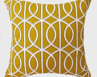"CLEARANCE 50% Off  Pillow Covers Golden Yellow,Decorative Throw Pillow Covers  Yellow Cushion Covers  18""  Accent Pillows  Gray Pillows"
