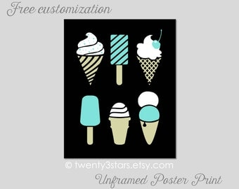Modern Ice Cream and Popsicle Art Print, Choose Your Colors, Kitchen Art, Cute Coordinating Kitchen or Bakery Art, Fun Summer Art