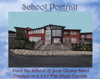 Hand Painted School Portrait 5 x 7 Panel