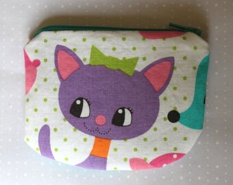 Little Zipper pouch, coin purse cat and squirrel