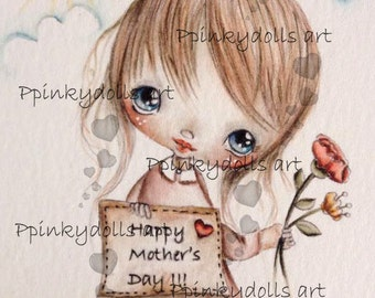 INSTANT DOWNLOAD Digital Digi Stamps..by Chrishanthi's art,Happy Mother's Day'