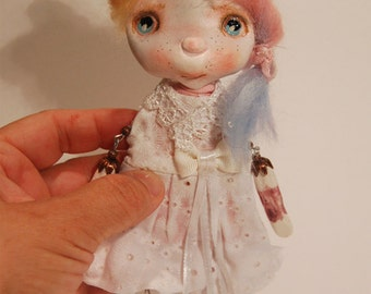 Artistic doll Brooch OOAK Katia with her suitcase.