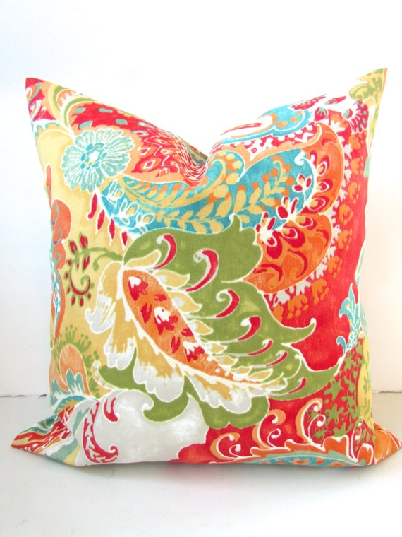 THROW PILLOWS 16x16 Orange Teal Outdoor Pillow by SayItWithPillows