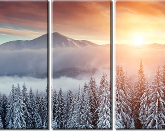 Framed Huge 3-Panel Snow Mountain Sunset Canvas Art Print - Ready to Hang