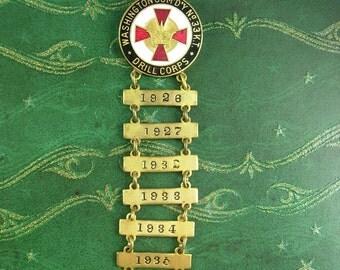 1926 Washington Com'd'y no 33 Drill Corps Service Award Badge Brooch Medal Bars 1927 * 1930 * 1933 *  1924 * 1935  Enamel Military pin