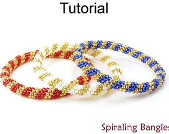 Beading Tutorial Bangle Bracelet - Even Count Tubular Peyote Stitch - Simple Bead Patterns - Spiraling Bangles #14074
