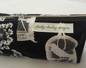 """Modern Cosmetic zippered """"black & white"""" cotton bag - or pencil case/purse"""