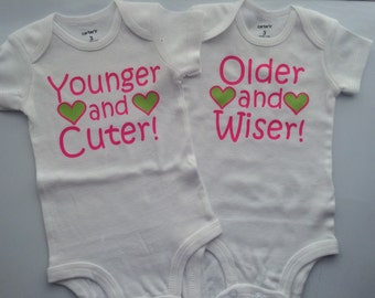 Twin Girl - Twin boys - funny twin outfit - Twin Going Home Outfit - funny twin onesies- Baby Twin bodysuit -CUSTOMIZABLE- TWO SET