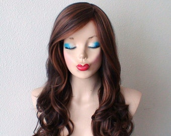 Brown Auburn wig.  Long curly hairstyle long side bangs Heat resistant Synthetic wig for daytime use or Cosplay.