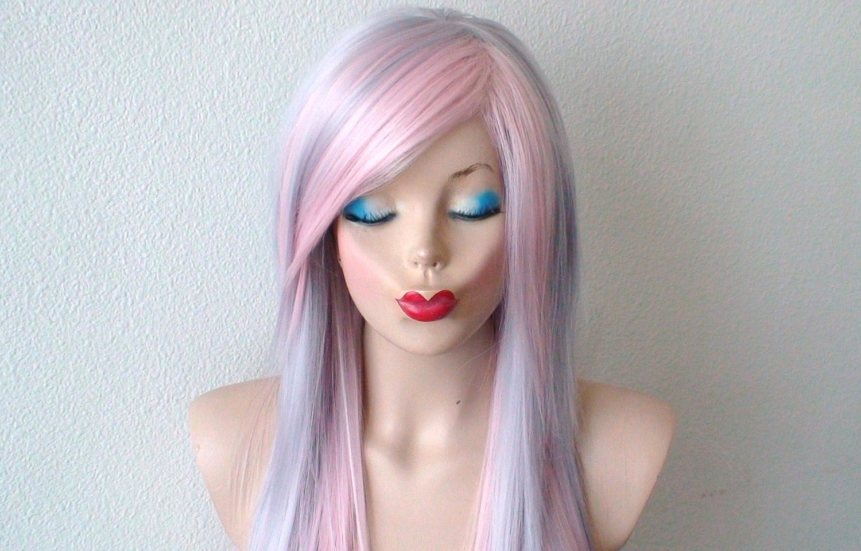 Scene Wig Emo Hair Pastel Silver Pink Wig Long Straight