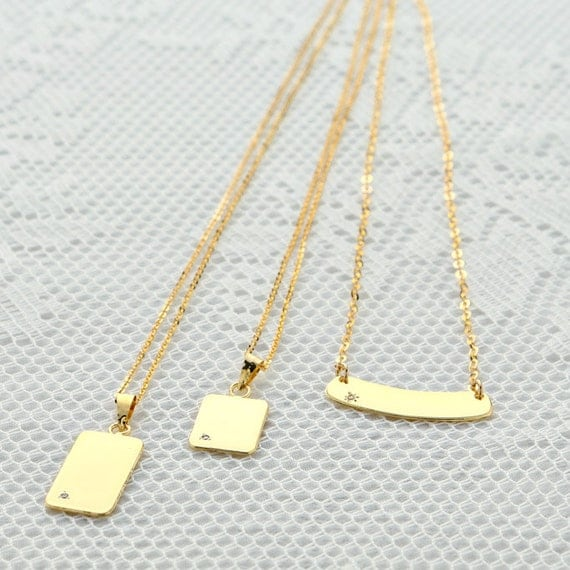 vertical gold bar necklace dainty small layering by