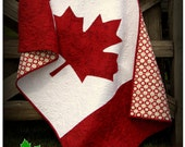 Canadian Baby Quilt Pattern - patriotic baby quilt to the true north strong and free - red and white with the maple leaf - flag quilt