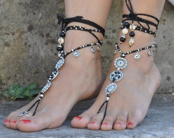 YIN YANG MANDALA barefoot sandals foot jewelry hippie sandals toe ring anklet beaded crochet yoga wedding beach