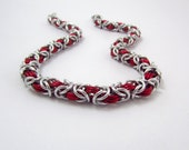 Red and Silver Chainmaille Necklace – Unisex for Men and Women - Byzantine Chainmail