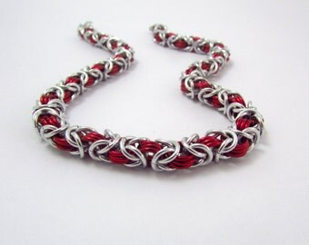 Red and Silver Necklace – Byzantine Chainmaille - Nickel Free Chain Necklace - Handmade Chainmail