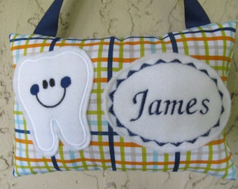 Tooth Fairy Pillow Personalized Plaid
