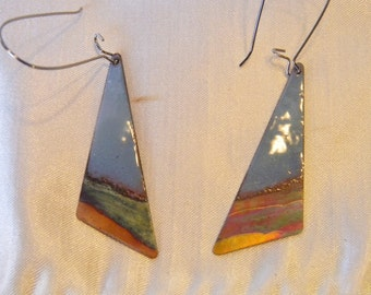 Torch fired copper enamel and flame painted copper earrings
