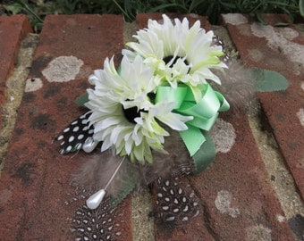 Flower Corsage, Green and Ivory Daisies. Wedding, Prom or Event.