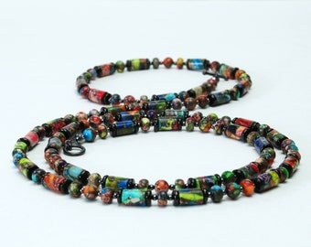 Multi-color Gemstone Long Necklace - Colorful Sea Sediment (Mixed Impression) Jasper Necklace - 38 Inch Long or 19 Inch Double Wrapped